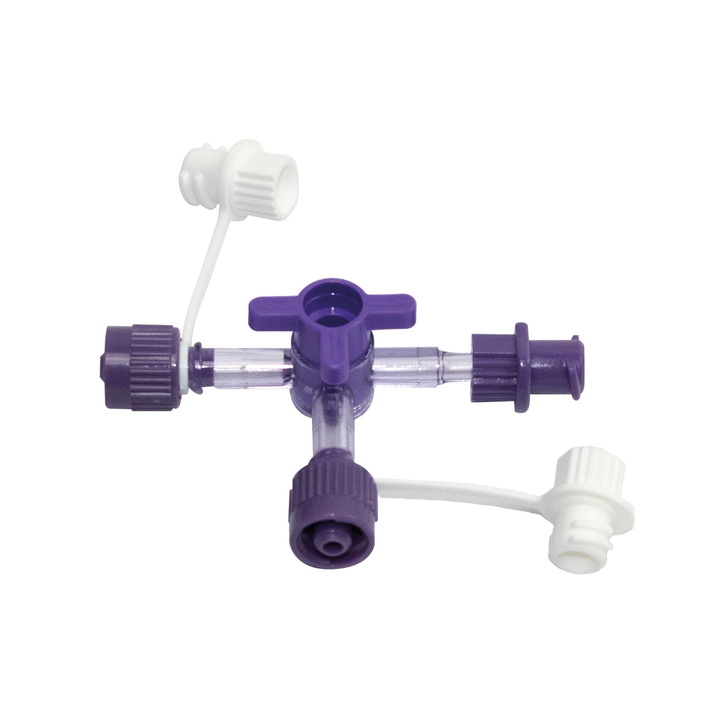 Robinet 3 voies ENTRAL™ ENFit™ avec deux connecteurs mâles et un connecteur femelle